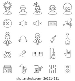 Music  line icons set.Vector