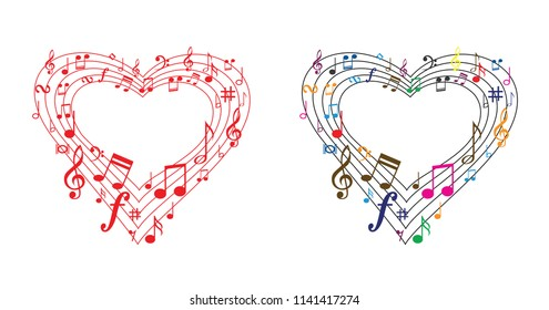 Music line of love music notes in heart shape different color i love heart musical symbols music note background karaoke music notes symbols vector party icon sound icon happy fun funny songs stave