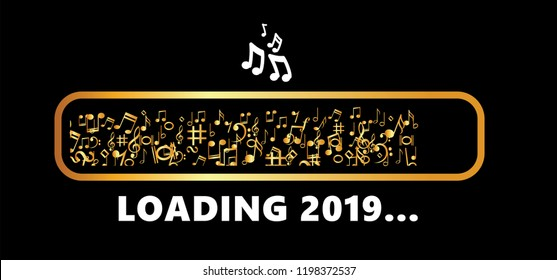 Music loading bar music notes Vector  progress icon 2019 december january Golden gold party fun funny celebration Falling tiny party Xmas christmas birthday Valentine merry musical symbol music notes