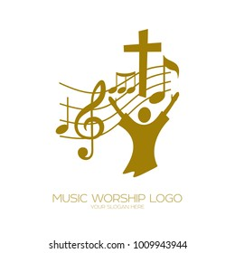 Music logo. Christian symbols. The believer worships Jesus Christ, sings the glory to God