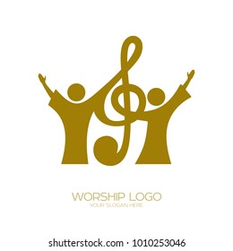 Music logo. Christian symbols. Believers in Jesus sing a song of glorification to the Lord