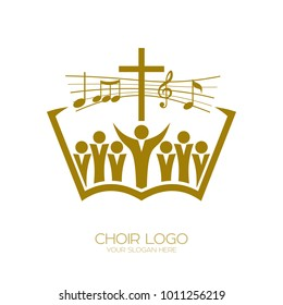 Music logo. Christian symbols. The Church of God sings to Jesus Christ a song of glory