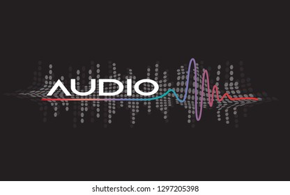 80 S Styled Sound Wave 1980 Chrome Stock Vector (Royalty
