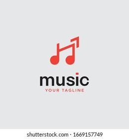 music logo design Note web logotype. Abstract icon vector Sound recording studio, night party, disco, vocal course, composer, singer symbol