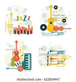 Music logo. Music festival, concert poster. Vector.
