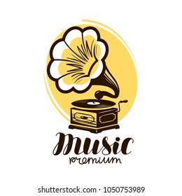 Music logo or label. Retro gramophone, phonograph symbol. Vector illustration