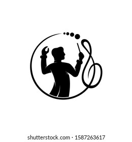 Music Logo, Man Silhouette With Music Note Logo Design, Choir/Musical Arranged Mascot Logo. Flat Black Symphony/Melody Symbol, Orchestra Icon. Conductor/Choirmaster vector illustration