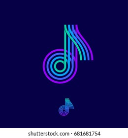 Music logo. Note emblem. Multi colored logo as a note on a dark background.