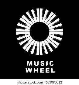Music logo piano keyboard as wheel eye icon. Simple illustration of music logo piano keyboard wheel eye for web