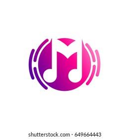 Music Logo. Sound wave logo icon. M logo with music note symbol