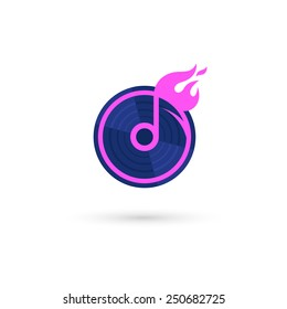 Music logo template. Abstract creative note sign. Isolated on white background. Vector illustration, eps 10.