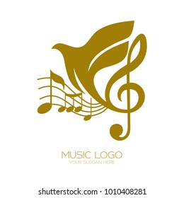 Music logo. Treble clef and flying dove