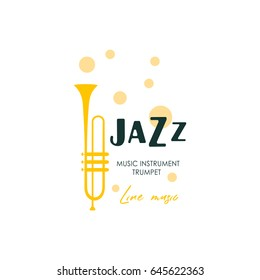 Music logo trumpet. Music festival, concert poster. Vector.