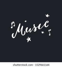 Music logo . Vector brushpen calligraphy