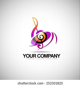 Music logo vector. Musical key note template logo for a musical company