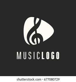Music logo vector. Musical key note template logo for a recording company or school. Clef logo template.