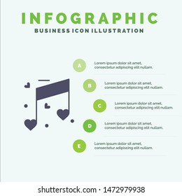 Music, Love, Heart, Wedding Solid Icon Infographics 5 Steps Presentation Background