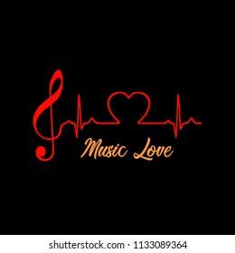 Music love logo. Vector illustration