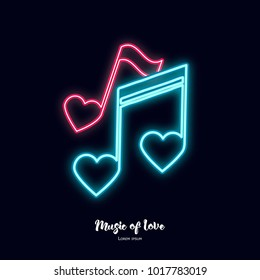 Music of Love. Neon notes. Happy Valentine's Day Illustration
