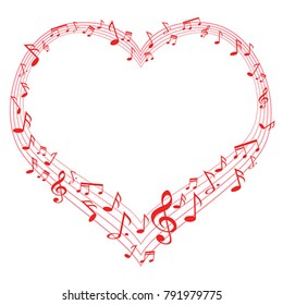 Music of love, music notes in heart shape