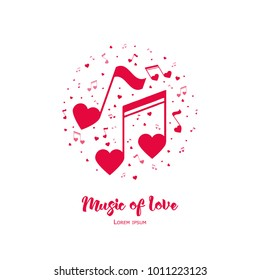 Music of Love. Vector Illustration.   Illustration for Valentine's day