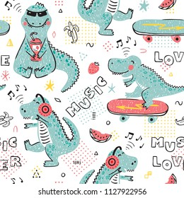 Music Lover Dinosaur Seamless pattern for kids fashion. Childish Background with Cute Dinosaurs. Cartoon Animal vector illustration