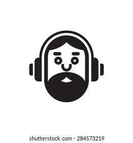 Music lover icon. Hipster man logo template illustration. DJ concept sign. Human character concept. Design element.