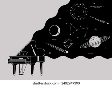 Music lovers themed design. Universe of classical music. Black grand piano with space, planets and stars spread from open lid