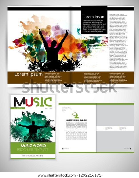 Music Magazine Brochure Layout Easy Editable Stock Vector (Royalty