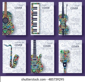 Music magazine layout flyer invitation design. Set of musical ornament illustration concept. Art instrument, poster, book, abstract, ottoman motifs, element. Vector decorative ethnic greeting card