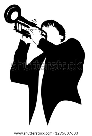 Music Man Whit Jazz Band On Stock Vector (Royalty Free) 1295887633