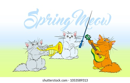 Music meow. Vector set of cute spring cats. Orchestra of charming kittens. Guitarist, trumpeter, conductor. Illustration in sketch style. Three kittens. Children's animals. Funny cartoon characters.
