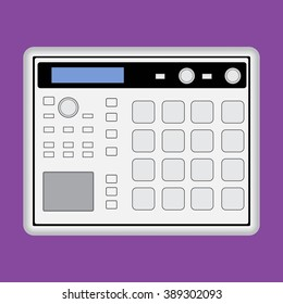 Music midi production center sampler sequencer drum machine icon