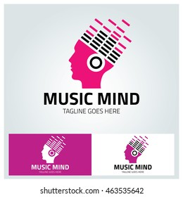 Music Mind logo design template , Music beat logo ,Headphone logo ,Vector illustration