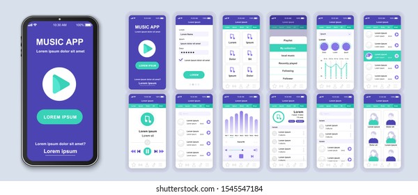 Music mobile app interface design vector templates set. Musical albums. Online audio playlist. Smartphone web page layout kit . Pack of UI, UX, GUI screens for application. Phone display