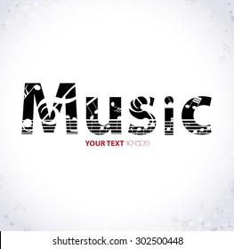 Music. Musical background with the word music