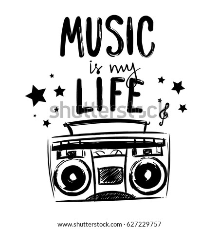 Music My Life T Shirt Design Stock Vektorgrafik Lizenzfrei