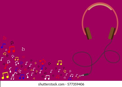 Music is my life.Headset with music note.Concept of recreation,Relaxation,Inspiration. Vector illustration.