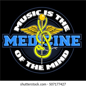 Music is my medicine logo. Medicine sign. Medicine symbol with the snake in the form of a treble clef.