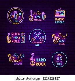 Live Music Neon Sign Vector Illustration Stock Vector