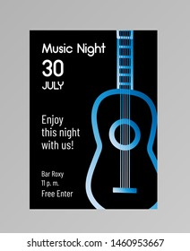 """""""Music night"""" invitation poster with big gradient guitar. Standard A4/A5 format. Black background. Vector illustration"""