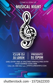 Music night party flyer vector template Electronic Sound Waves. Audio Circle.  Vibrant Music Minimal. Vibrant Dj Flyer. Color Gradient Banner. Night Club. Color Flyer Dj. Electronic Background.