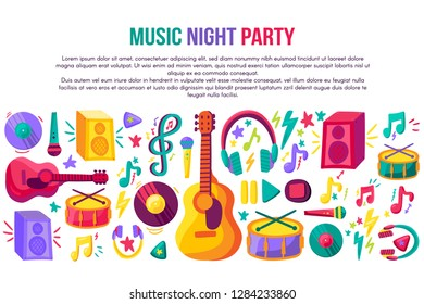 Music night party invitation poster vector template. Flat musical instruments banner, flyer design