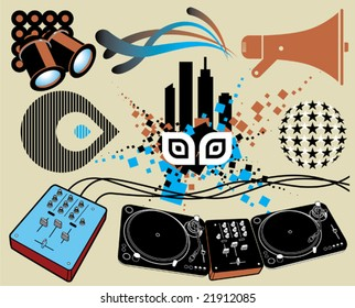 Music and nightlife design elements.