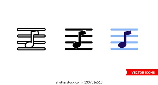 Music notation icon of 3 types: color, black and white, outline. Isolated vector sign symbol.