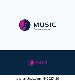 Music note audio sound logo Yin Yang