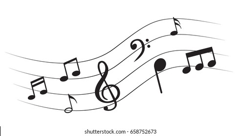 Music note background with different music symbols