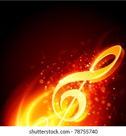 Music note burn in fire vector background. Eps 10.
