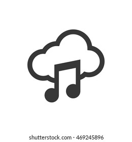music note cloud sound silhouette icon. Isolated and flat illustration. Vector graphic