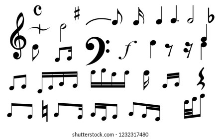 Music Note Collection vector design for banner,